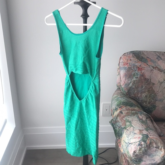 Peacock Green Bodycon Stretch Open Back Dress 👗